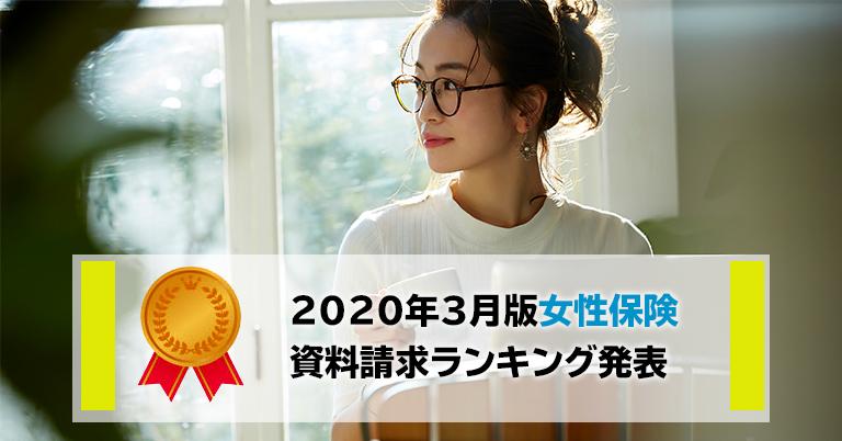 2020年3月 保険市場、女性保険の資料請求ランキングトップは東京海上日動あんしん生命の「メディカルKit NEO 女性プラン」