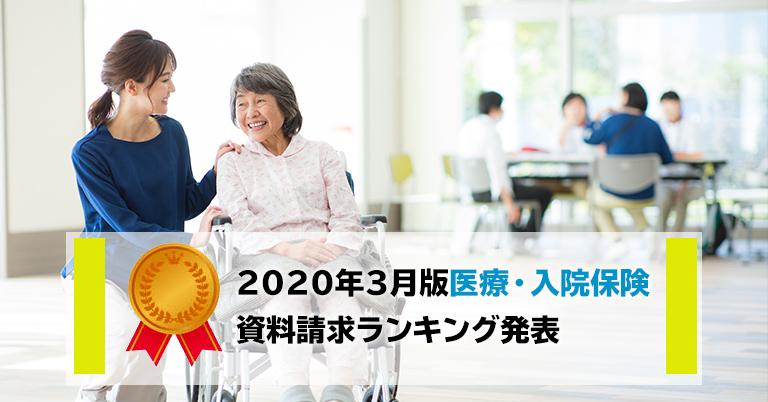 2020年3月 保険市場、医療保険・入院保険の資料請求ランキングトップは東京海上日動あんしん生命の「メディカルKit NEO」