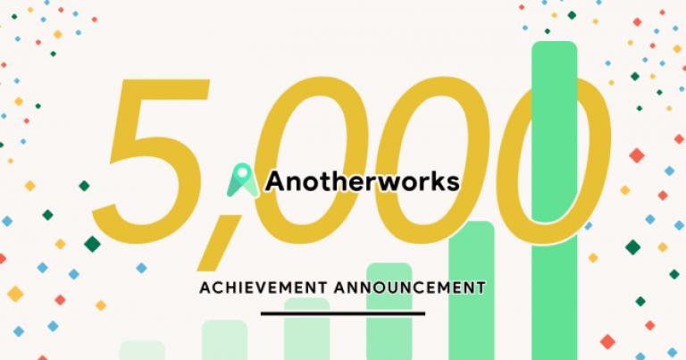 複業したい人と企業をつなぐSaaS型の複業マッチングプラットフォーム「Another works」の登録タレント数が5,000人突破、エンジニア、デザイナー、営業、マーケター、広報、人事、ライターなど多彩な職種が登録