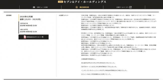 ▲実際の画面 例)セブン&アイ・ホールディングス-株式会社xenodata lab.