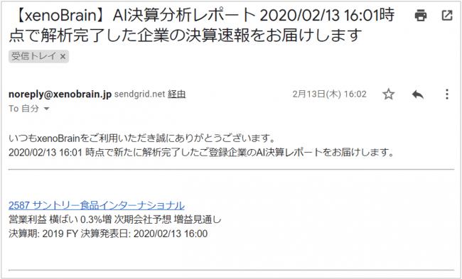 ▲配信されるメールイメージ-株式会社xenodata lab.
