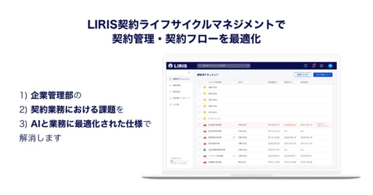 LIRIS(ライリス)株式会社、契約管理アプリケーションサービス『LIRIS 契約ライフサイクルマネジメント』の提供を開始