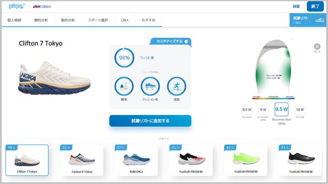 おすすめされた靴について、測定した足とのマッチング具合が詳細に確認できます-ゼビオグループ