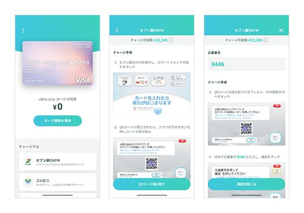 (図:セブン銀行ATMでのultra pay カード へのチャージ導線)-株式会社ULTRA