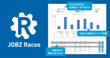 製造業で働く方の見たいものが見える!受注案件のクラウド管理サービス JOBZ Racooのベータ版をリリース!