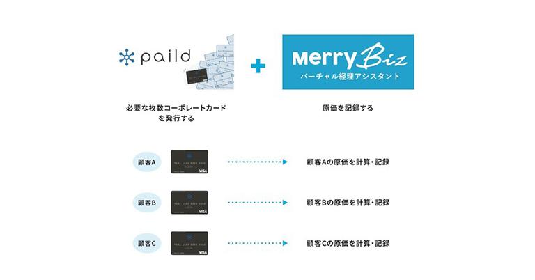 メリービズ、法人カード発行サービス「paild」を活用した、新しい「原価計算ソリューション」を提供