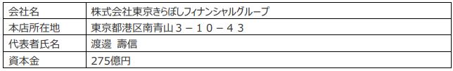 株式会社東京きらぼしフィナンシャルグループの概要(2020年7月1日現在)-株式会社SBJ銀行