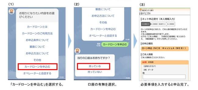 西日本シティ銀行LINE公式アカウントでカードローンの内容を確認