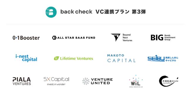 株式会社ROXXの「back check VC連携プラン」が新たにVC13社と連携開始