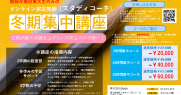 Builds/東大生によるオンライン家庭教師サービススタディコーチ、冬期集中講座を開講!!