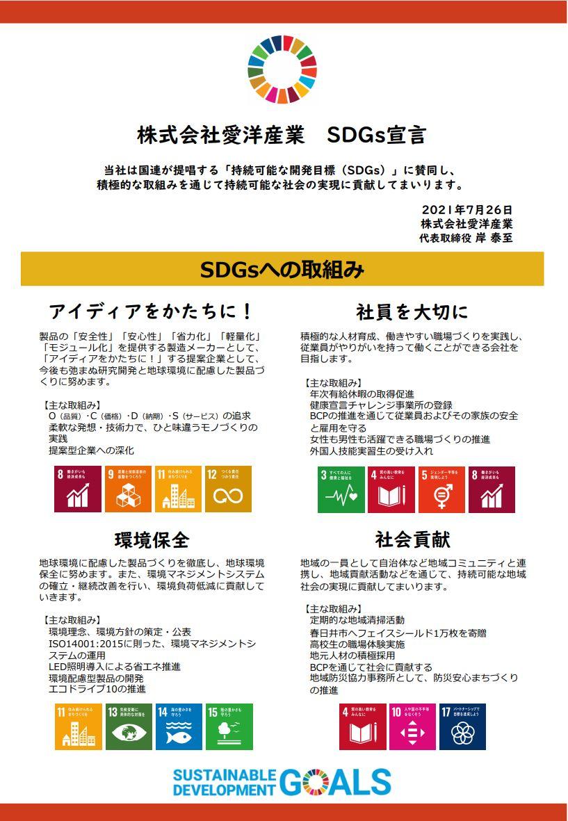 株式会社愛洋産業のSDGs宣言